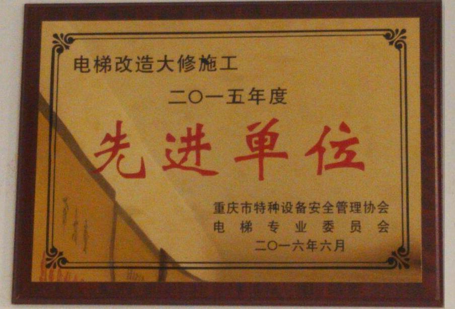 """中富电梯荣获重庆市特种设备管理协会""""先进单位"""""""